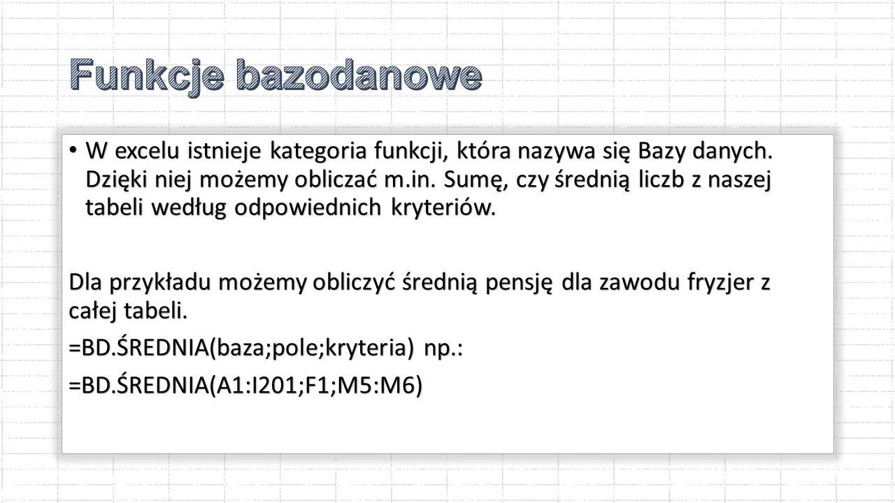 Funkcje bazodanowe