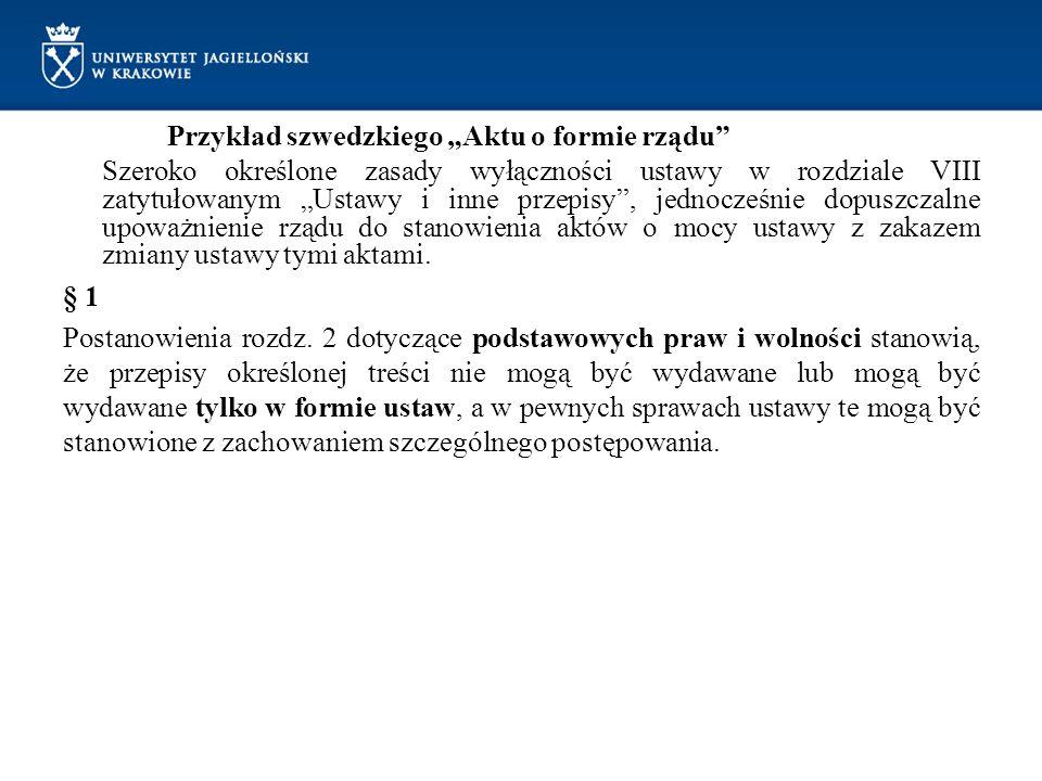"""Przykład szwedzkiego """"Aktu o formie rządu"""