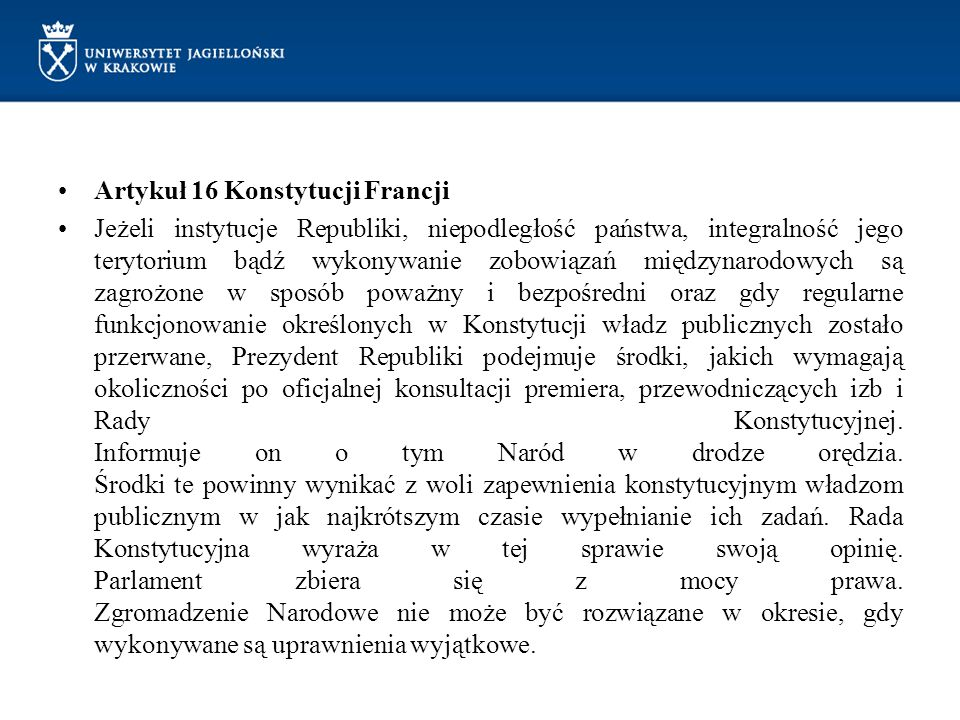 Artykuł 16 Konstytucji Francji