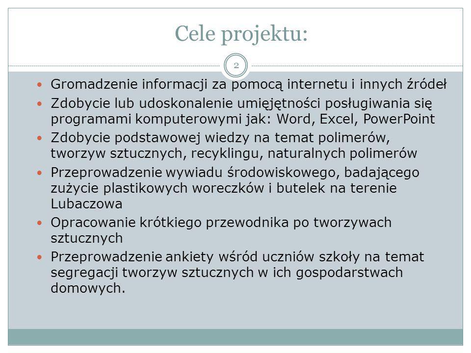 Cele projektu: Gromadzenie informacji za pomocą internetu i innych źródeł.