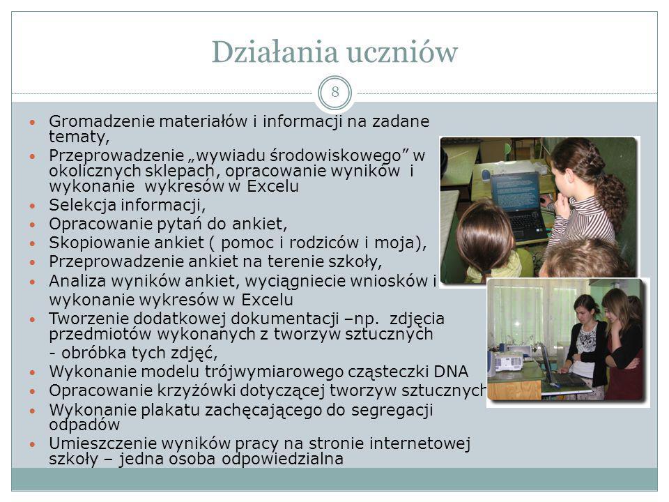 Działania uczniów Gromadzenie materiałów i informacji na zadane tematy,