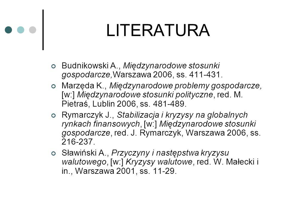 LITERATURA Budnikowski A., Międzynarodowe stosunki gospodarcze,Warszawa 2006, ss. 411-431.