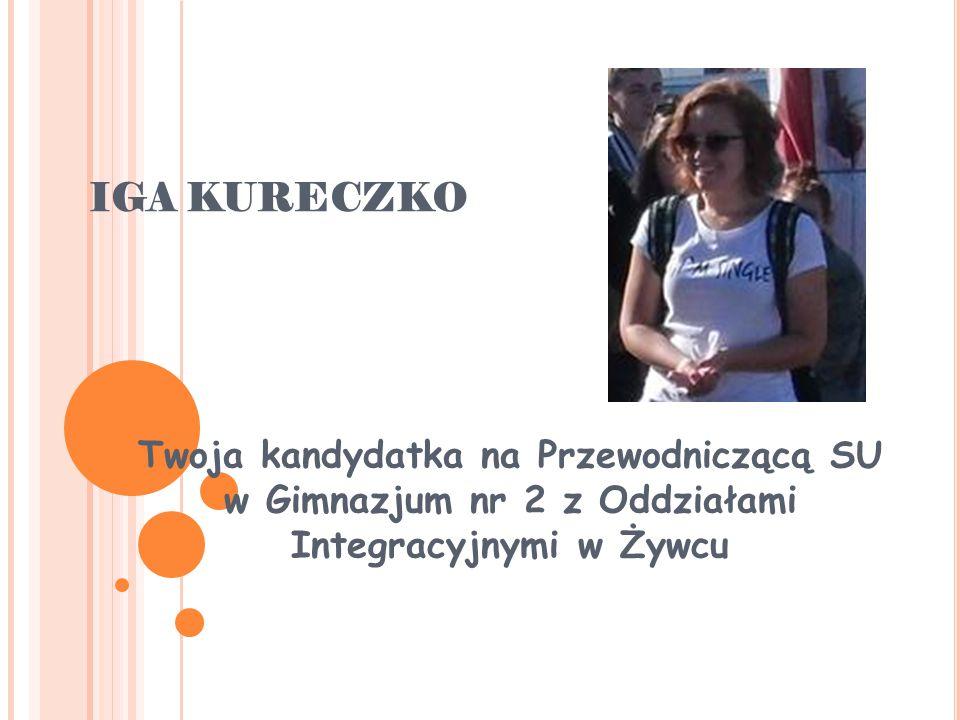IGA KURECZKO Twoja kandydatka na Przewodniczącą SU w Gimnazjum nr 2 z Oddziałami Integracyjnymi w Żywcu.