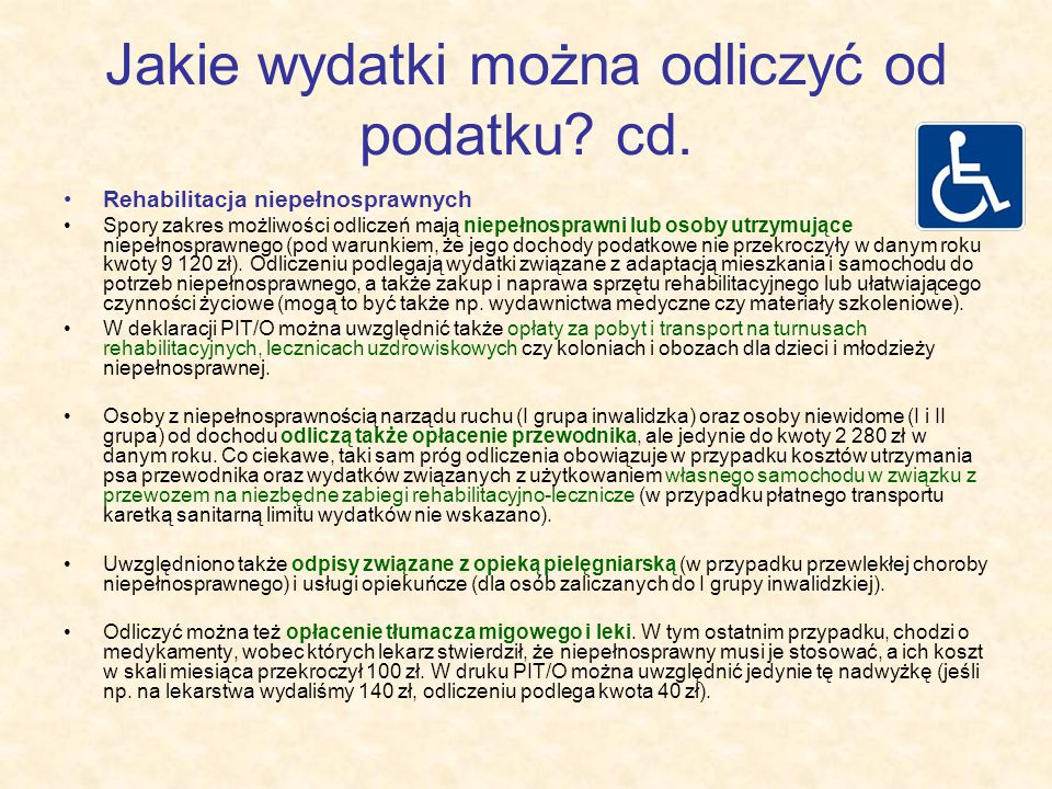 Jakie wydatki można odliczyć od podatku cd.