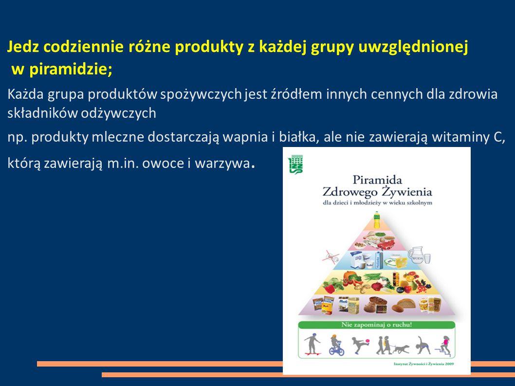 Jedz codziennie różne produkty z każdej grupy uwzględnionej w piramidzie;