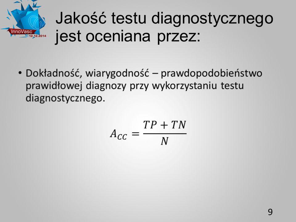 Jakość testu diagnostycznego jest oceniana przez: