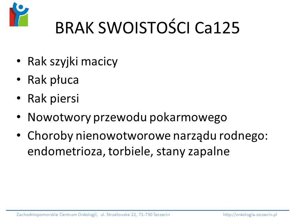 BRAK SWOISTOŚCI Ca125 Rak szyjki macicy Rak płuca Rak piersi