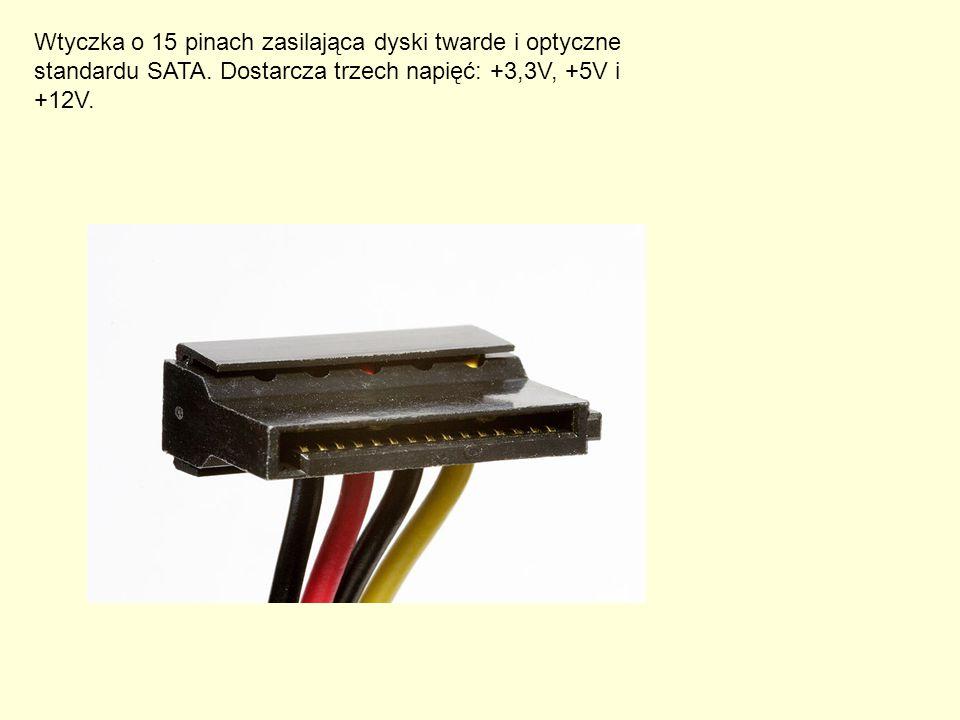 Wtyczka o 15 pinach zasilająca dyski twarde i optyczne standardu SATA