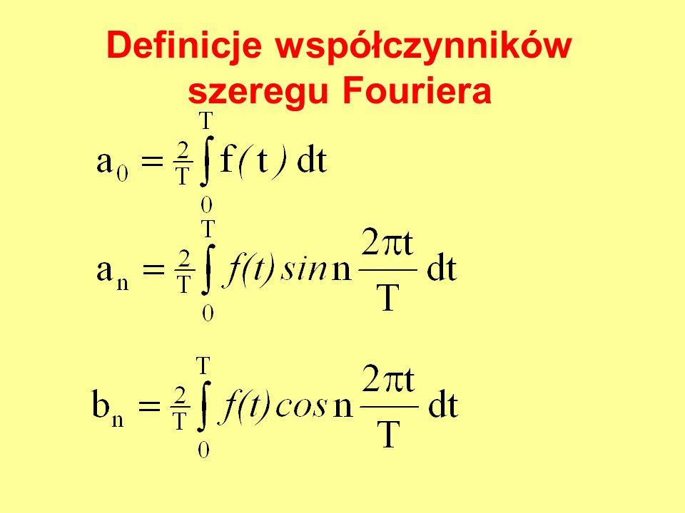 Definicje współczynników szeregu Fouriera