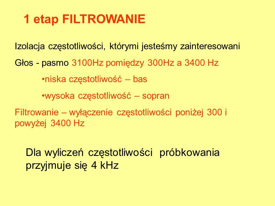 1 etap FILTROWANIE Izolacja częstotliwości, którymi jesteśmy zainteresowani. Głos - pasmo 3100Hz pomiędzy 300Hz a 3400 Hz.