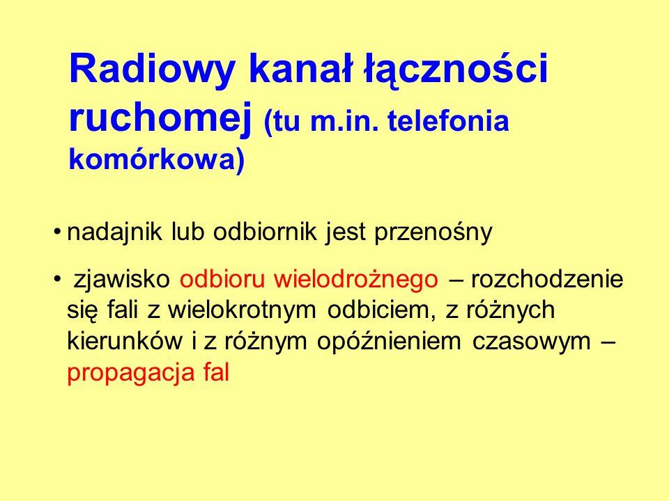 Radiowy kanał łączności ruchomej (tu m.in. telefonia komórkowa)