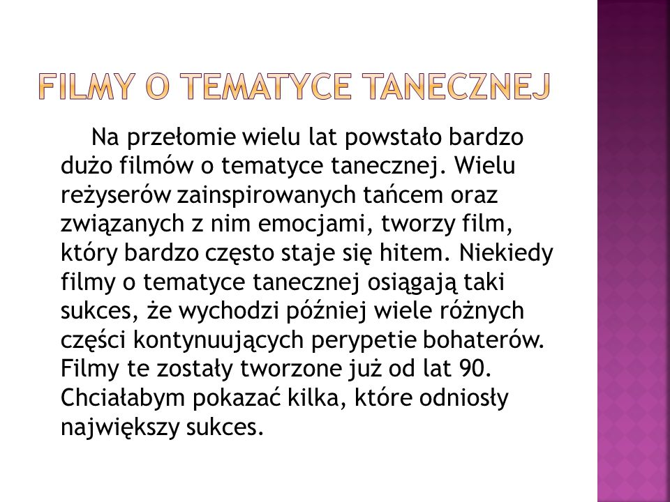 Filmy o tematyce tanecznej