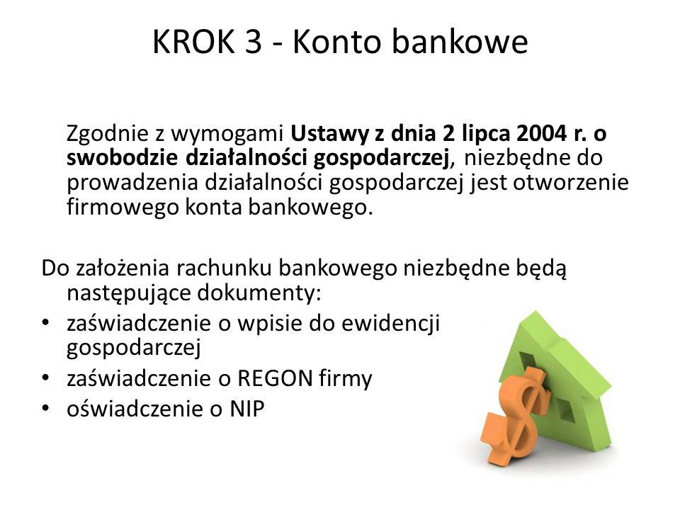KROK 3 - Konto bankowe