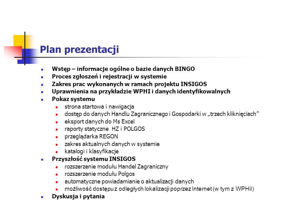 Plan prezentacji Wstęp – informacje ogólne o bazie danych BINGO
