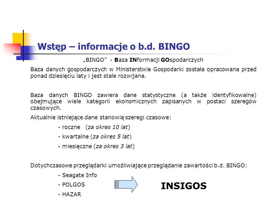 Wstęp – informacje o b.d. BINGO