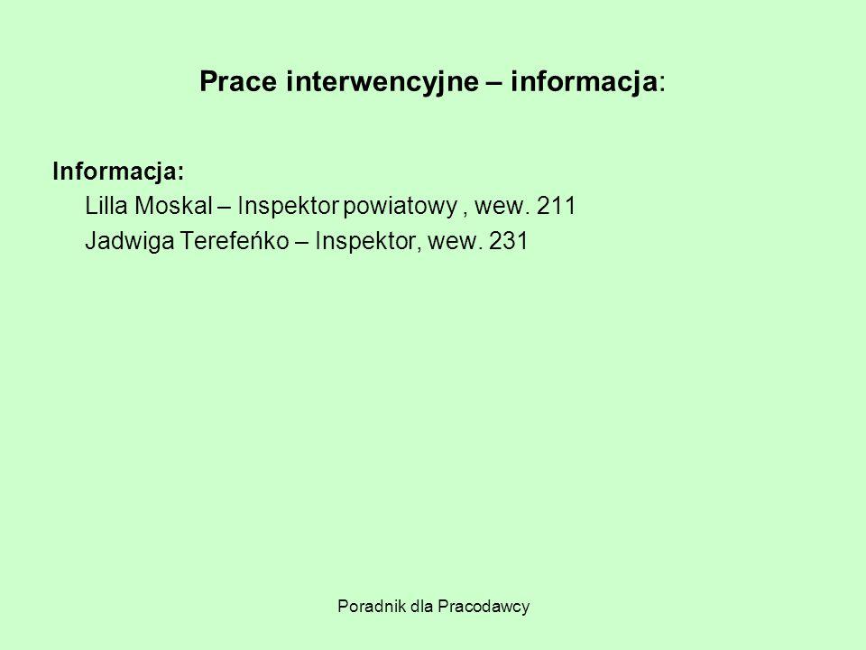 Prace interwencyjne – informacja: