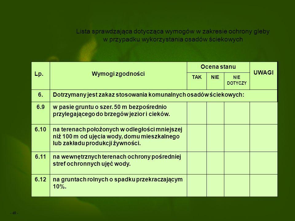 Lista sprawdzająca dotycząca wymogów w zakresie ochrony gleby w przypadku wykorzystania osadów ściekowych