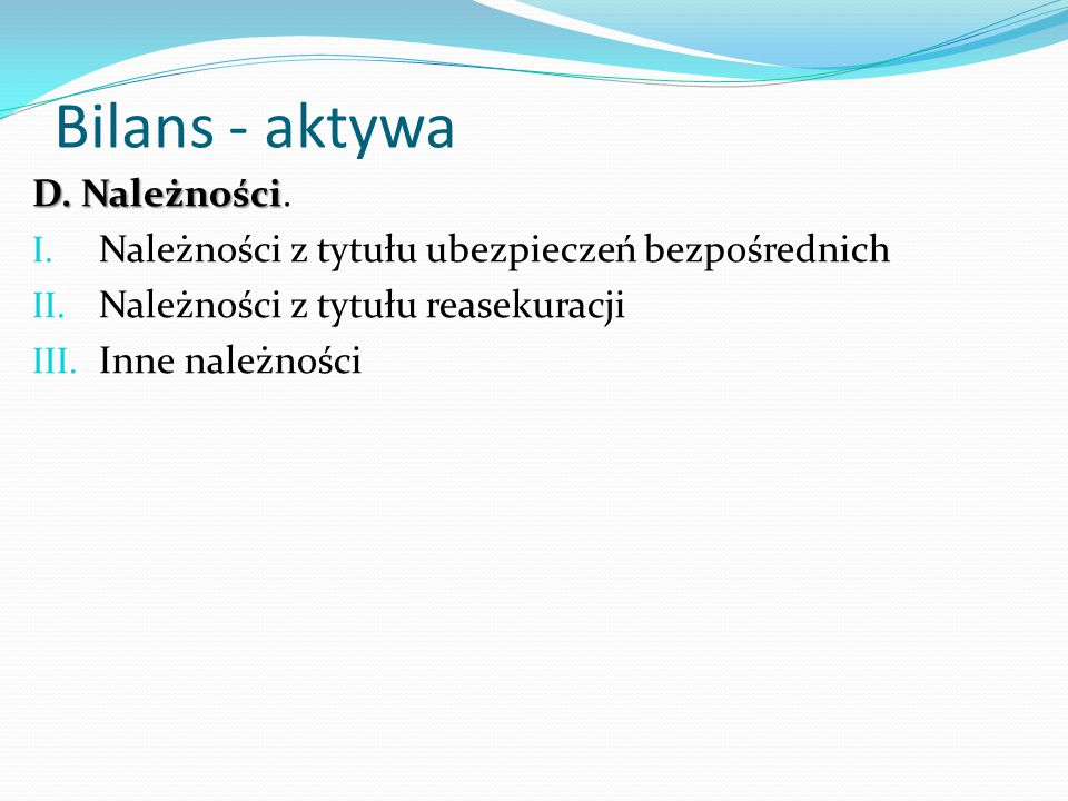 Bilans - aktywa D. Należności.