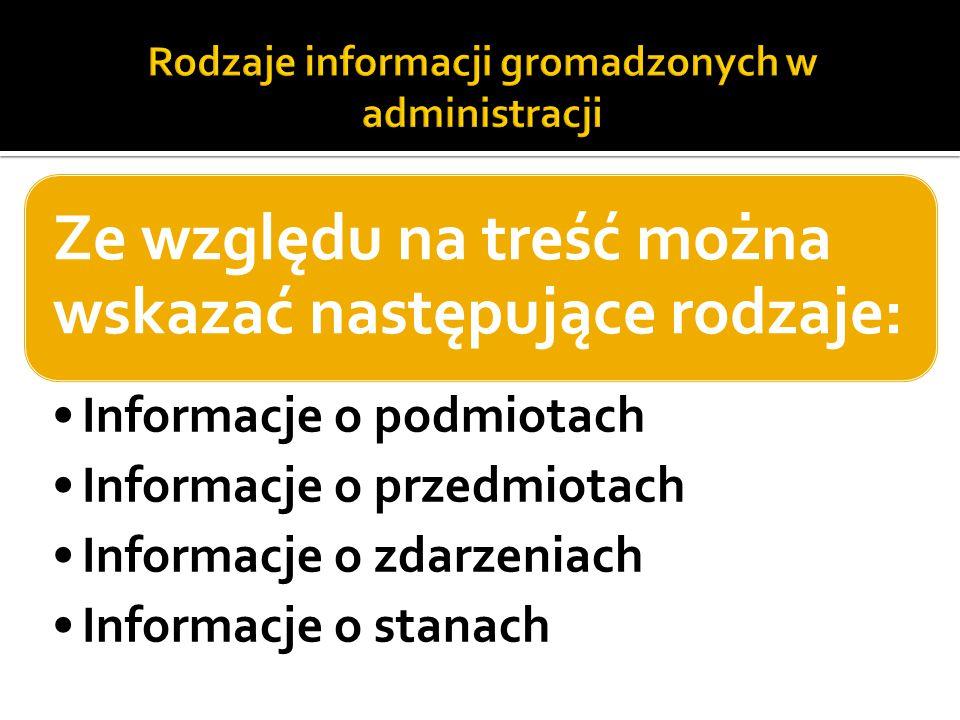 Rodzaje informacji gromadzonych w administracji