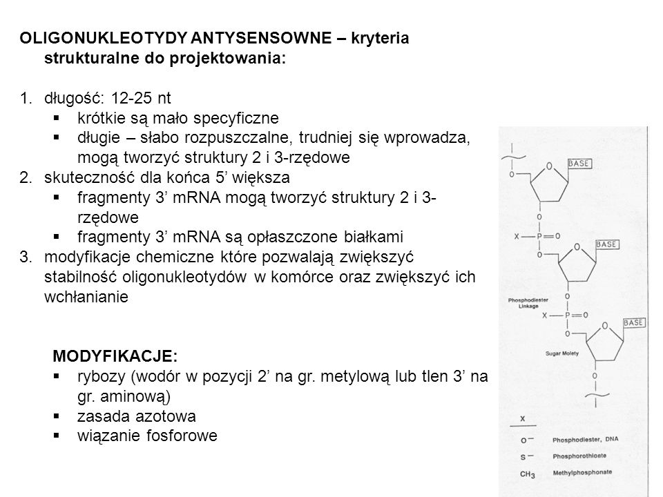 OLIGONUKLEOTYDY ANTYSENSOWNE – kryteria strukturalne do projektowania: