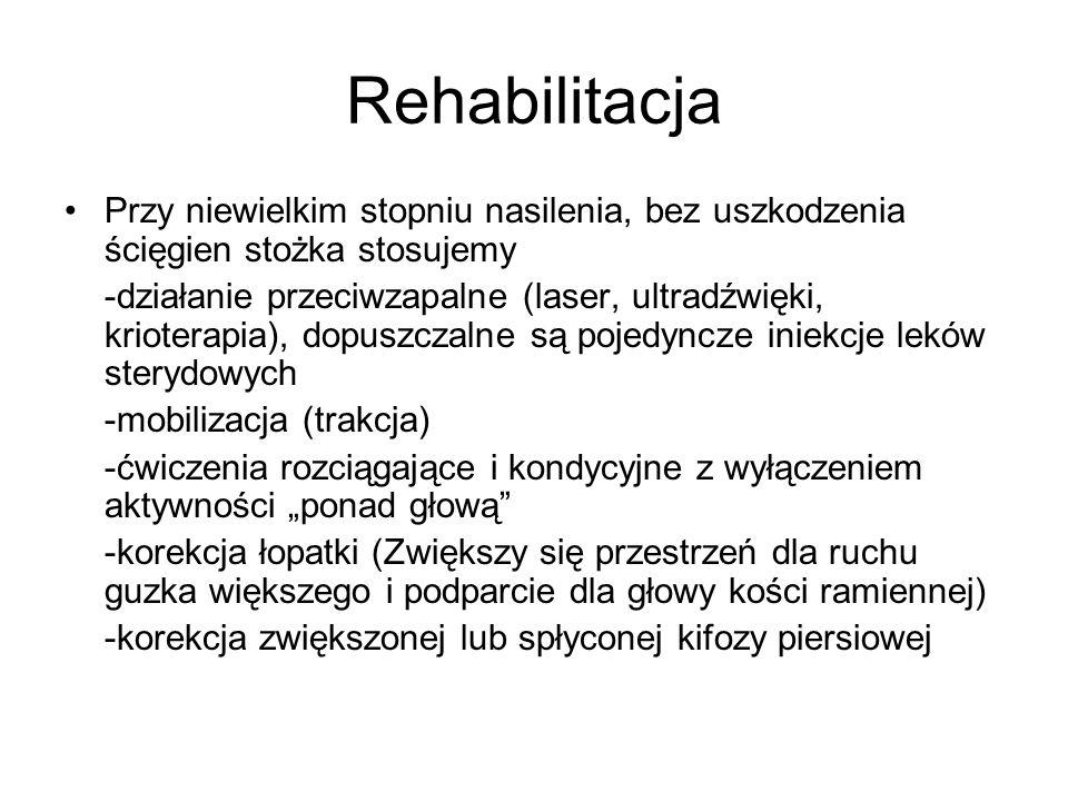 Rehabilitacja Przy niewielkim stopniu nasilenia, bez uszkodzenia ścięgien stożka stosujemy.