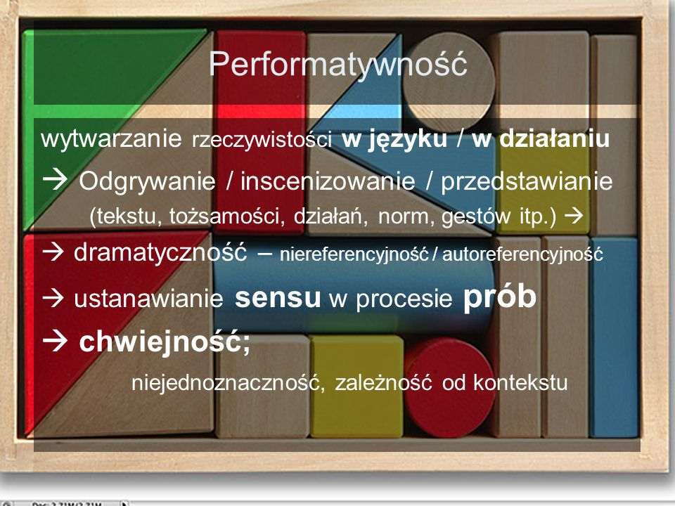 Performatywność  Odgrywanie / inscenizowanie / przedstawianie