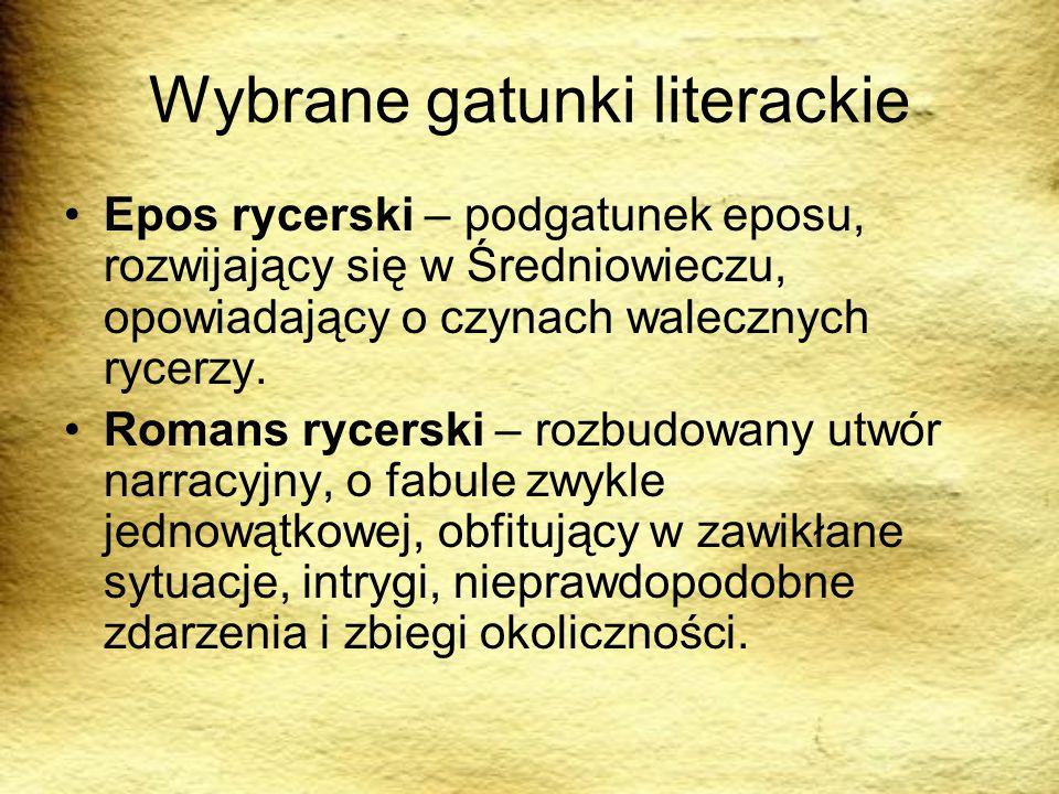 Wybrane gatunki literackie