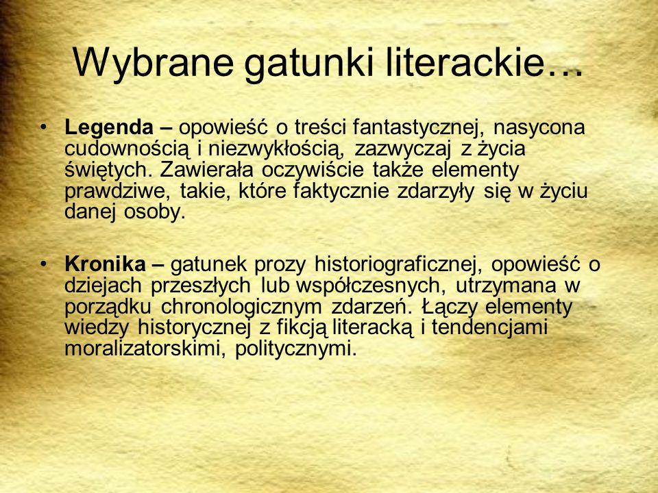 Wybrane gatunki literackie…