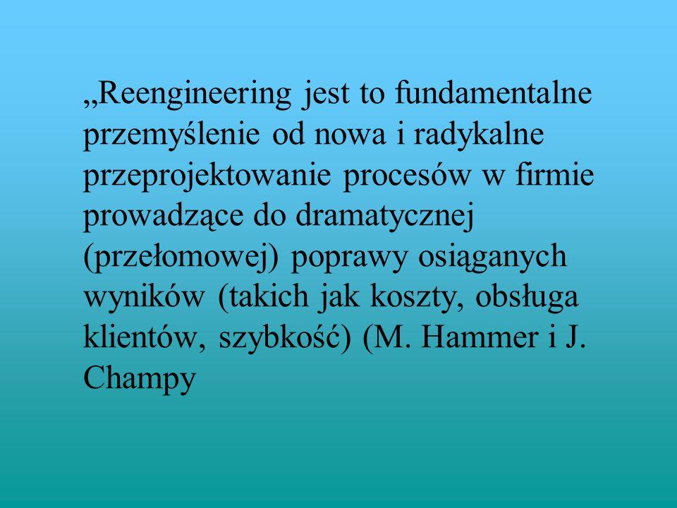 """""""Reengineering jest to fundamentalne przemyślenie od nowa i radykalne przeprojektowanie procesów w firmie prowadzące do dramatycznej (przełomowej) poprawy osiąganych wyników (takich jak koszty, obsługa klientów, szybkość) (M."""