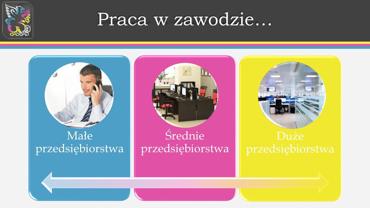 Praca w zawodzie… Małe przedsiębiorstwa Średnie przedsiębiorstwa
