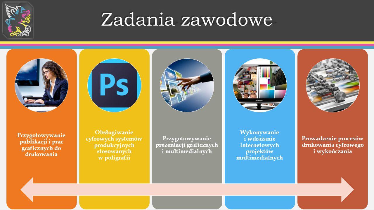 Zadania zawodowe Przygotowywanie publikacji i prac graficznych do drukowania.