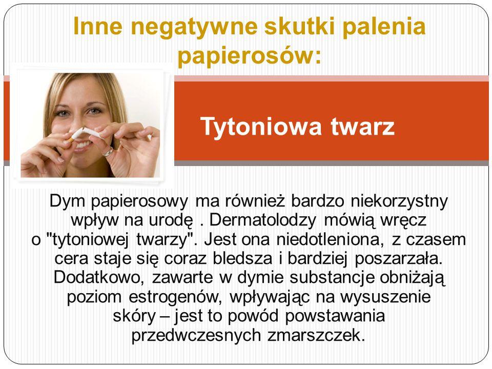Inne negatywne skutki palenia papierosów: