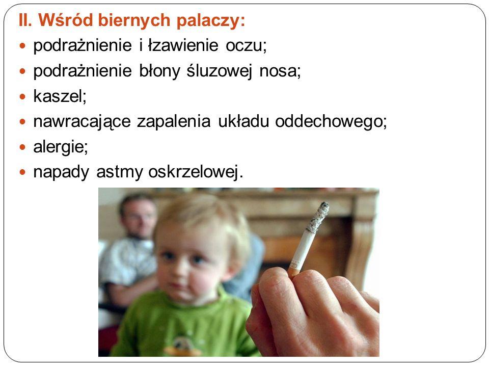 II. Wśród biernych palaczy: