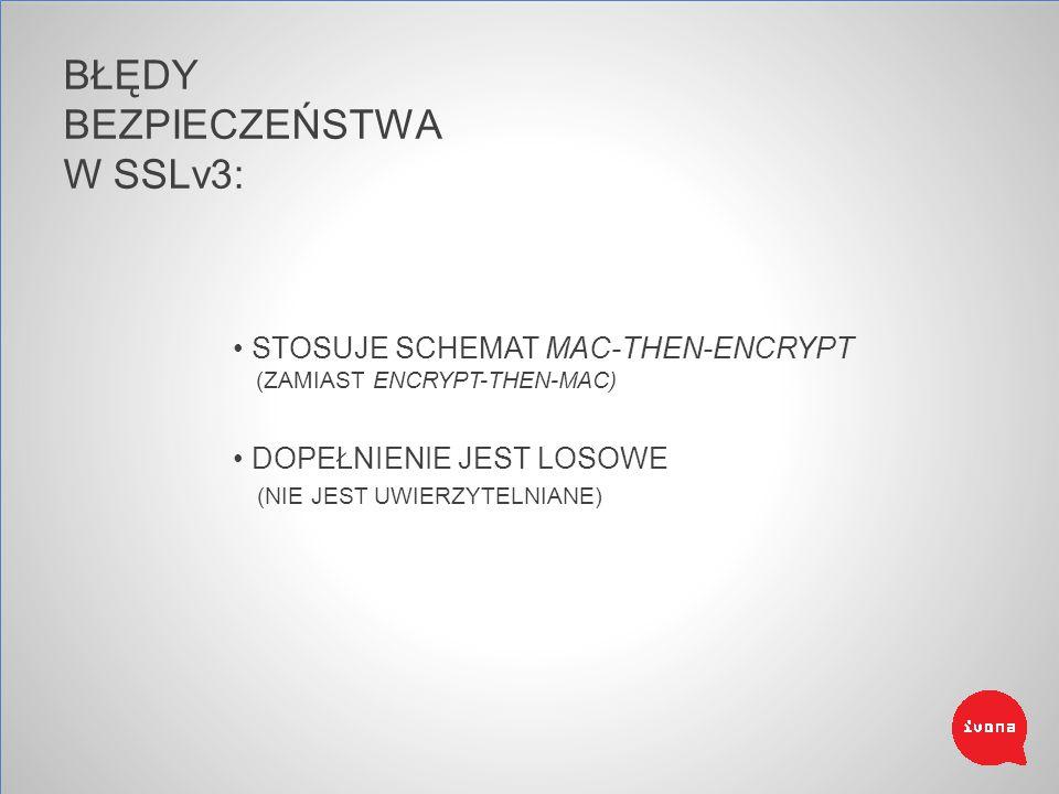BŁĘDY BEZPIECZEŃSTWA W SSLv3: