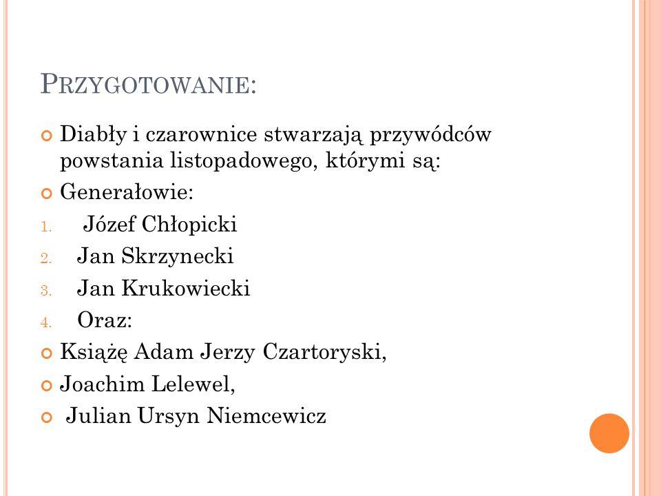 Przygotowanie: Diabły i czarownice stwarzają przywódców powstania listopadowego, którymi są: Generałowie: