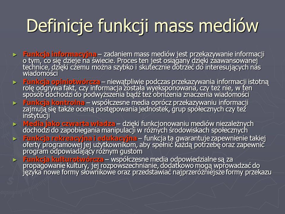 Definicje funkcji mass mediów