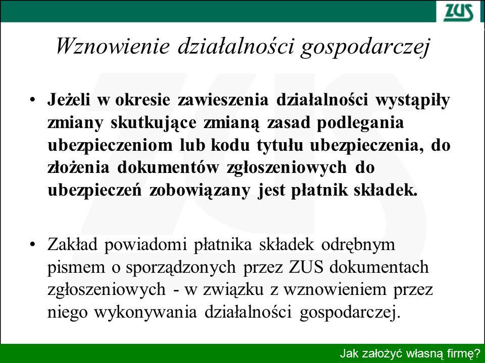 Wznowienie działalności gospodarczej