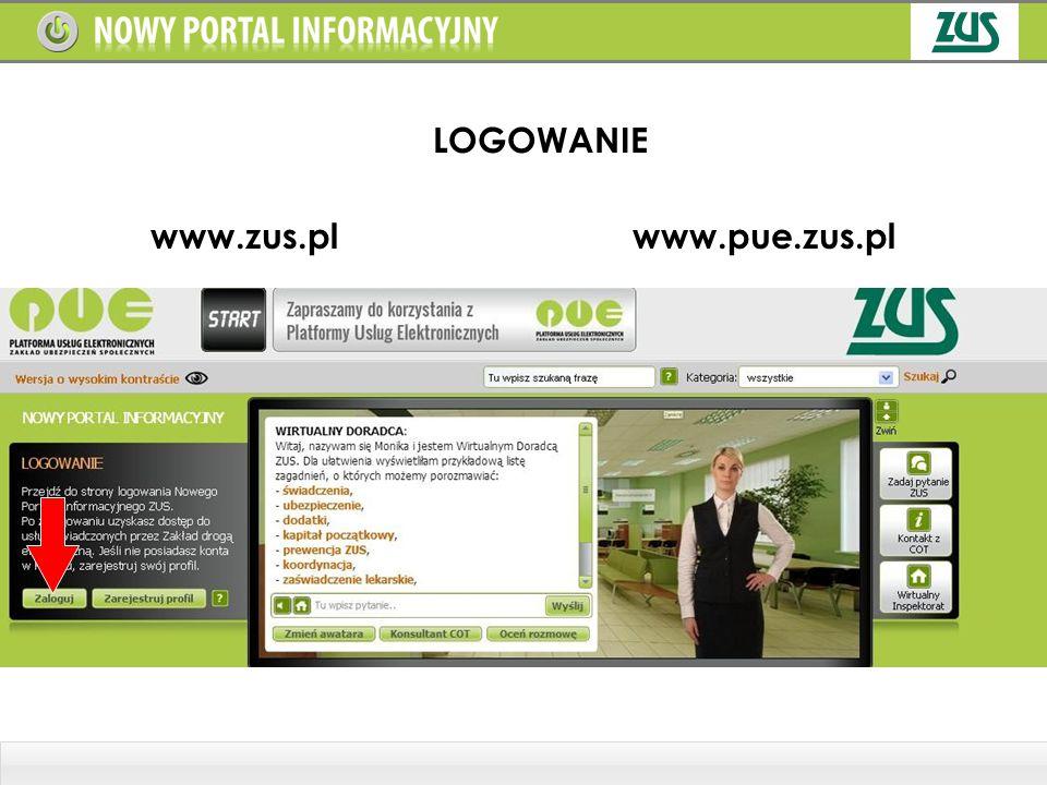 LOGOWANIE www.zus.pl www.pue.zus.pl