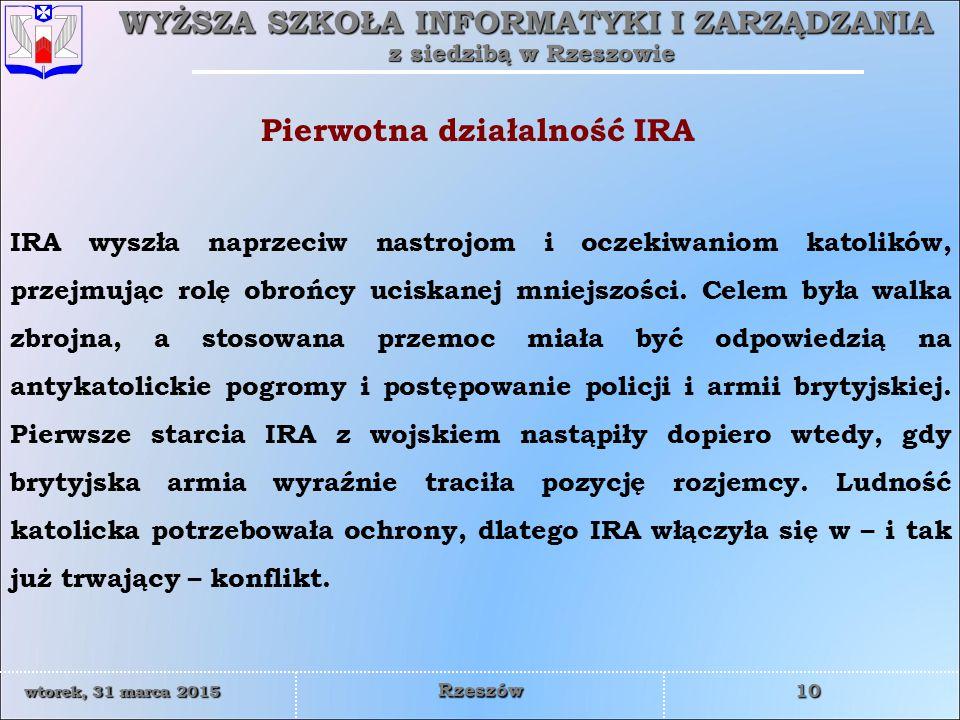 Pierwotna działalność IRA