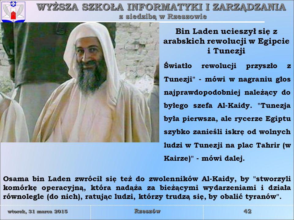 Bin Laden ucieszył się z arabskich rewolucji w Egipcie i Tunezji
