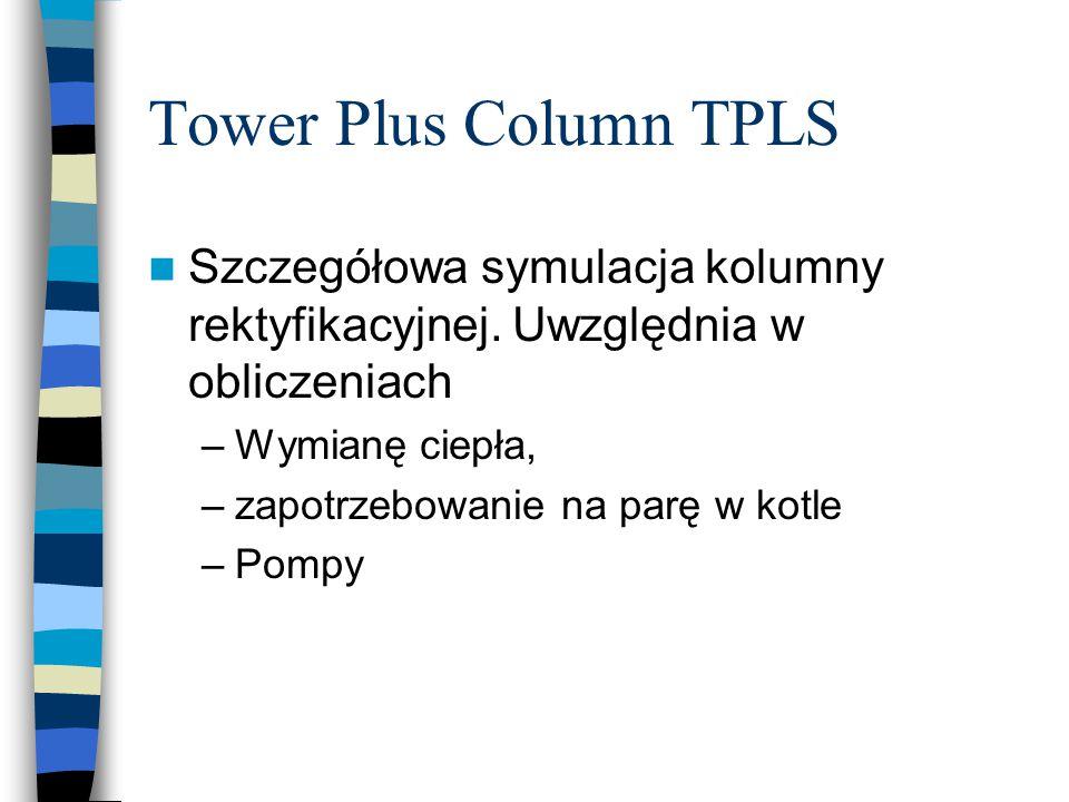 Tower Plus Column TPLS Szczegółowa symulacja kolumny rektyfikacyjnej. Uwzględnia w obliczeniach. Wymianę ciepła,