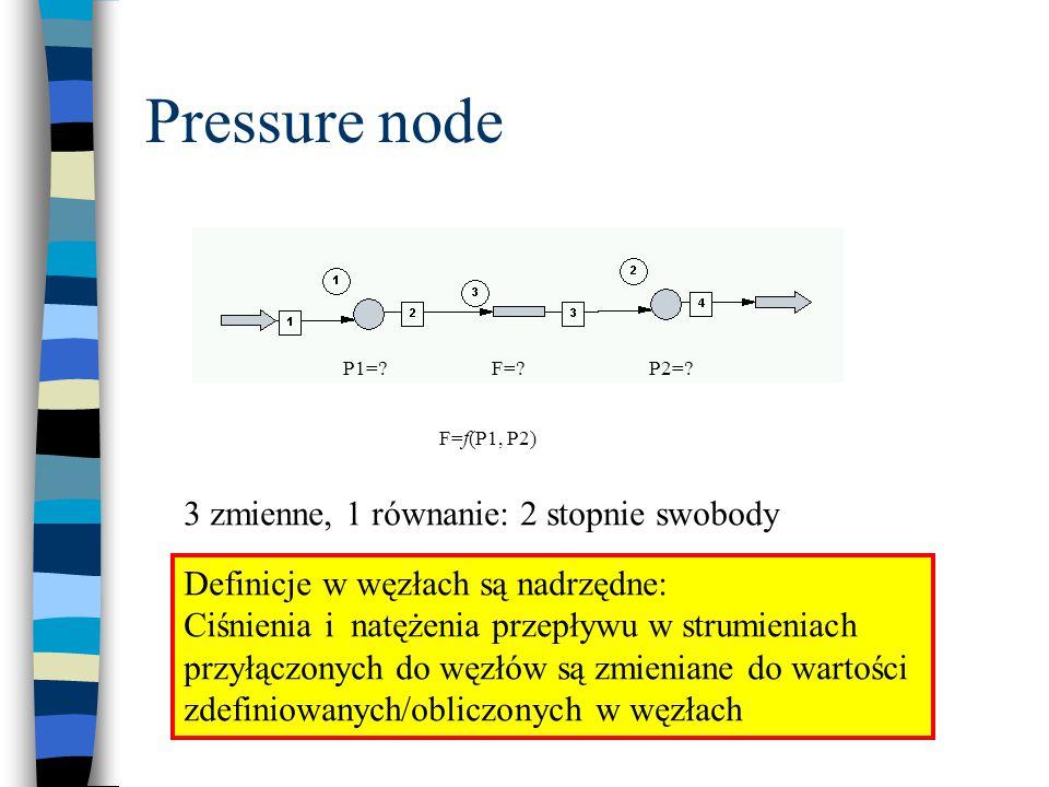 Pressure node 3 zmienne, 1 równanie: 2 stopnie swobody
