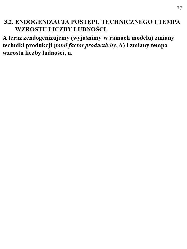 3.2. ENDOGENIZACJA POSTĘPU TECHNICZNEGO I TEMPA