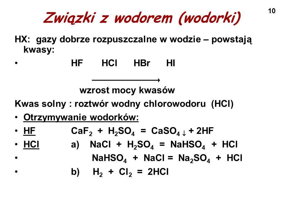 Związki z wodorem (wodorki)