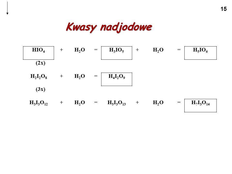 Kwasy nadjodowe HIO4 + H2O = H3IO5 H5IO6 (2x) H2I2O8 H4I2O9 (3x)