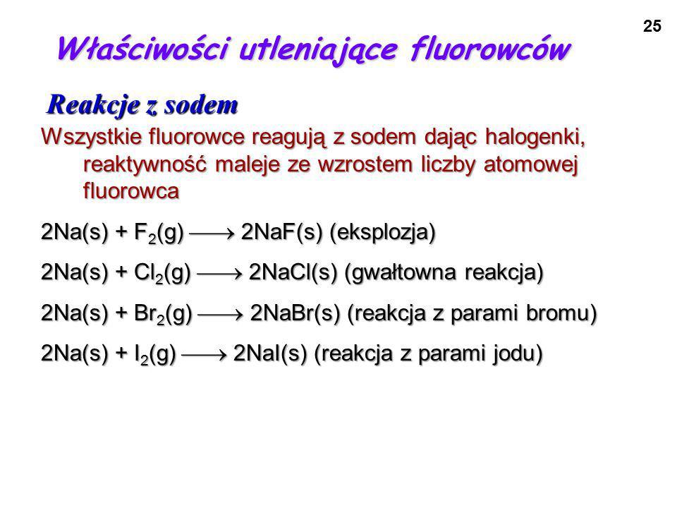 Właściwości utleniające fluorowców