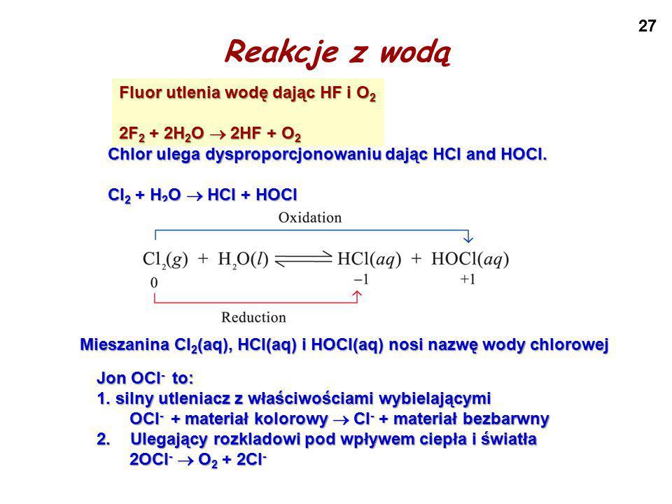 Reakcje z wodą Fluor utlenia wodę dając HF i O2 2F2 + 2H2O  2HF + O2