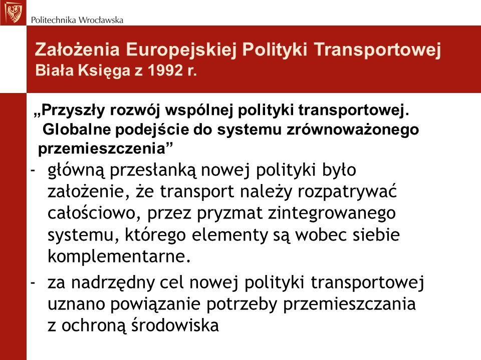 Założenia Europejskiej Polityki Transportowej Biała Księga z 1992 r.