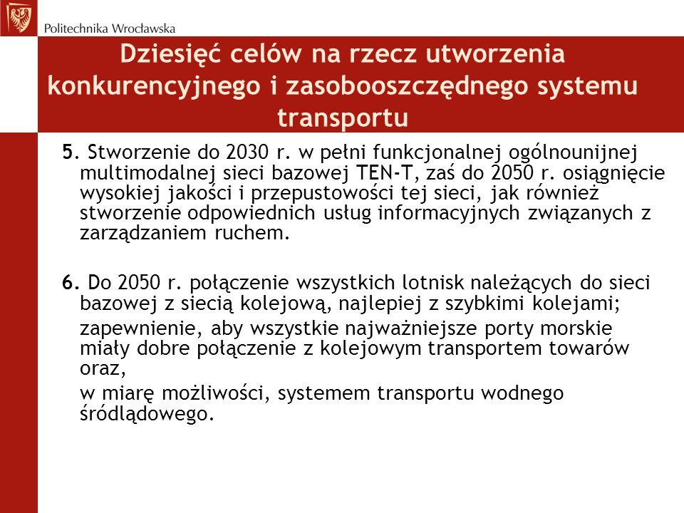 Dziesięć celów na rzecz utworzenia konkurencyjnego i zasobooszczędnego systemu transportu
