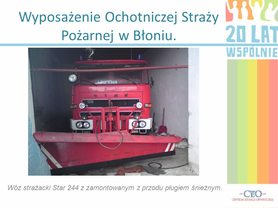 Wyposażenie Ochotniczej Straży Pożarnej w Błoniu.
